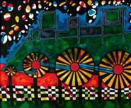 Lokomotiver - en serie ecoline malerier af Ole Valdemar Nielsen