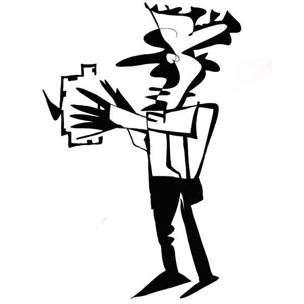 tegning af kunstneren Ole Valdemar Nielsen fra Tivoli