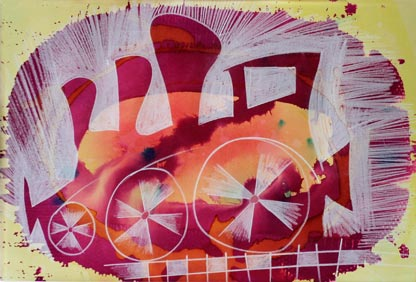 Lokomotiv serie af kunstneren Ole Valdemar Nielsen